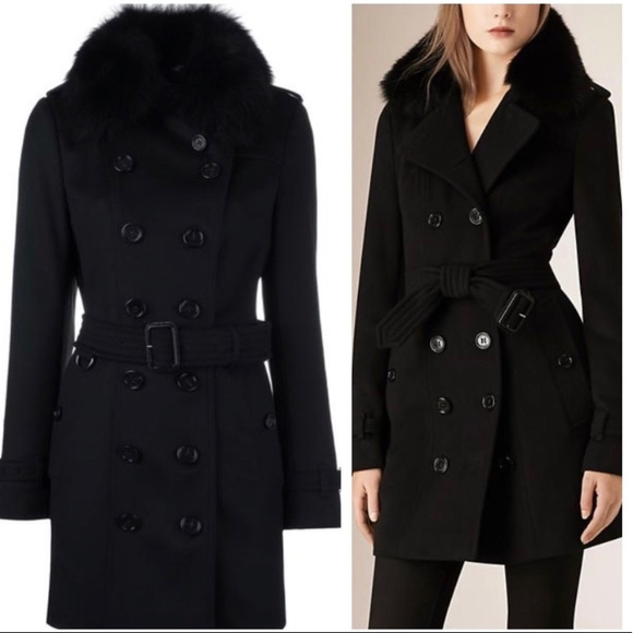 Burberry fur collar wool cashmere trench coat